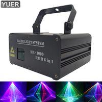 1.5W RGB 6IN1 풀 컬러 애니메이션 레이저 빛 DMX512 DJ 디스코 KTV 댄스 파티 프로젝터 전문 스테이지 패턴 효과 빛