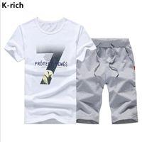 عارضة K-Rich رجل الدعاوى قطعتين مجموعة الملابس الصيف الرجال الرياضية رياضي ارتداء س الرقبة قصيرة الأكمام رجل الملابس الاتجاه