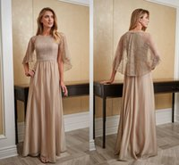 Butterfly Back Lace Mother of the Bride Dresses 2020 Pärla Jewel 30d Chiffon Sheft Groom Dress for Wedding Party Bridal Gowns Formell Dress