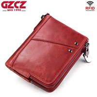 Gzcz Hot Sale Women Organizer Wallet Genuine Leather Wallets Female Short Walet Double Zipper Purse With Coin Bags For Card Rfid Y19051702