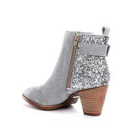 2020 Luxury Black Suede коренастых пятки круглых пальцы Женщины Ботильоны Мода Дизайнерские сексуальные дамы высокие каблуки обувь Насосы Bottes ботинки