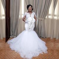 2020 Nijerya Dantel Deniz Kızı Gelinlik Aplike Afrika Gelin Kıyafeti Plus Size Şeffaf Uzun Kollu Seksi Gelin elbiseler de mariée