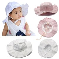 Casual Infant Kids Baby Girls Summer Hats Flowers Lace-up Baby Sunhat Caps Outdoor Cotton Sun Visors for Baby 0-3Y