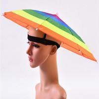 Regenbogen-Farb Regenschirm-Hut Erwachsene Kinder im Freien faltbare Regen Sonnenschirm Cap für Golf Angeln Camping Wandern