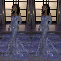 Aso Ebi árabe plata de las lentejuelas sirena fuera del hombro vestidos de baile 2020 de manga larga de lujo de lentejuelas de los vestidos de noche BC3306