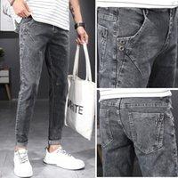 Jeans masculinos ymwmhu marca moda magro primavera casual e outono trabalho roupas homens denim calças vintage macho clássico