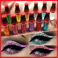 2019 neue Augen Makeup Cmaadu Glitter Flüssigkeit Eyeliner 12 Farben Bunte Cola Flasche Lidschatten und leicht zu tragen Glänzend Augenpigment Kosmetik