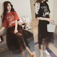 TiLeewon 2019 дамы летнее платье Set Plus Размер 6XL T-Shirt + марлевые Veil Hong Kong Стиль женщин Наборы