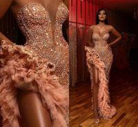 Medio Oriente arabo Prom Dresses 2021 Cristalli di lusso perline Ruffles Alta Leg Split partito degli abiti di sera Sweetheart vesti de soirée AL3392