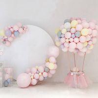 100 pçs / set 6 Cores de 10 polegada Macaron balões de Látex Decoração de Aniversário de Casamento Globos Do Chuveiro de Bebê Menina de Festa de Aniversário de Hélio Balão Novo presente