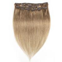 KISSHAIR 7 Stück Clip in Haarverlängerung # 8 Aschblond Farbe remy indischen brasilianischen Menschenhaar Webart 100g 110g