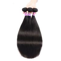 Prima brasileña recta virginal del pelo humano tramas extensiones de cabello Color natural sin procesar envío de la gota 8-30 pulgadas