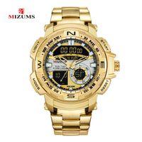 MIZUMS Relojes de pulsera militares LED Reloj deportivo digital Hombres Banda de acero inoxidable dorado Tiempo dual Reloj de cuarzo Hombre impermeable Relogio masculino