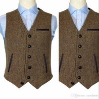 2019 Casual Groom Gilets Hommes Gilet tailleur style britannique Slim Fit Blazer Prom Gilet mariage Gilet Custom Made