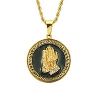 envío libre de la joyería de Hip hop collares de cadena colgante de collar de la Virgen mano en oro de 14K para las mujeres collares joyas hombre, 1pz