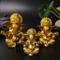 Lord Ganesha Buda estatua indio elefante dios esculturas oro ganesh estatuillas ornamentos hogar jardín Buda decoración estatuas