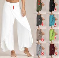 2019 Hot designer femmes vêtements femmes occasionnels pantalons stretch croisés jambe large bohème pantalon lâche femmes leggings mode solide danse pantalon