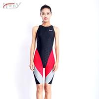 HXBY one piece concorrência na altura do joelho à prova d 'água resistente ao cloro swimwear das mulheres sharkskin swimsuit