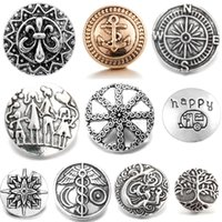 NOOSA Classic Retro charm different pattern Bottone a pressione Antique Silver metal noosa 18mm snap allo zenzero Gioielli fit collana orecchino ad anello