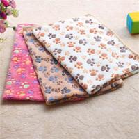 Bonito Quente Floral Pet sono cópia da pata towl Blanket filhote de cachorro Cat Dog Fleece Dog macio Pet Dog Beds Mat