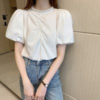 Korean Summer Women Blouses Pearl Puff Sleeve Casual Tops Fo...