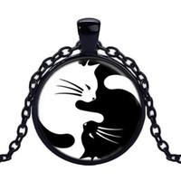 женщины ювелирные изделия Инь Ян сплетни кошка лицо время драгоценный камень ожерелье мода ретро длинное ожерелье свитер цепи