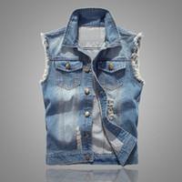 Slim Fit Kovboy Erkek Ceket Yelek Yırtık Kot Yelek erkek Ceket Kolsuz Casual Yelek Mens Jean Coat 5XL