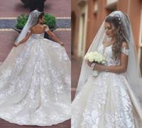سعيد Mhamad فساتين الزفاف الرباط 2020 يزين قبالة الكتف الأميرة أثواب الزفاف ربط الحذاء حتى العودة قطار عدد شاطئ فستان الزفاف