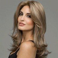 Vente chaude Perruques de haute qualité facile à prendre soin de couleur européenne et Brown Mode américain cheveux Femmes Noir Jaune Moyen longue perruque bouclée