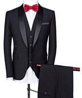 Solovedress Black Three True Business Party Best Men Suits Sours Shawle Отворотный Blazer Custom Made Wedding Groom Tuxedos Slim Fit Куртка Брюки Жилет