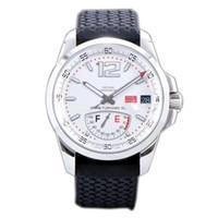 Best Edition Miglia GT XL 168457-3001 Stahlgehäuse Echte Gangreserve Weißes Zifferblatt ETA A2824-2 Automatische Herrenuhr Schwarzes Kautschukband Neu FK.02