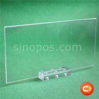 Magnética base de acrílico soporte sostenedor de la muestra de escritorio, plástico marco de precios imán pantallas tarjeta de etiqueta del cartel estantería tabla de contador claras