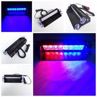 2X Bleu Rouge Jaune 8 LED haute puissance Flash stroboscopique Avertissement EMS Voiture de police Lumière clignotant Pompiers Phares antibrouillards 8LED