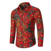 Camicie Uomo sociali Lino Fiore Hawaii Stile abbigliamento Camicie maniche lunghe maschile camicetta di svago Rosso Nero Nuovo