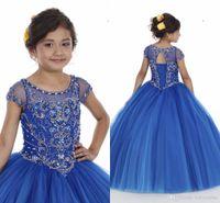 Cristales de cuentas Royal Blue Girls Pageants Vestidos 2020 New Sheer Cock Cock Manga Princess Formal Pageant Party Celebrity Bats for Teens