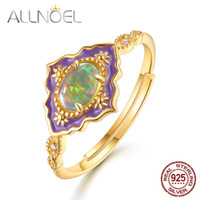 Allnoel 925 Sterling Silver Anéis de Pedras Preciosas Para As Mulheres Do Vintage Real Natural Fogo Opala Esmalte Rainbow Anel de Casamento Jóias Finas Y19061003