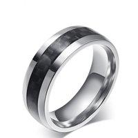 Silber Schwarz Farbe Mode Einfache männer Ringe Edelstahl Carbon Ring Schmuck Geschenk für Männer Jungen J094