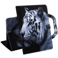Funda para tableta para Amazon Kindle Paperwhite 1 2 3 4 Manija Cubierta plegable Soporte Cartera de cuero Dibujo coloreado Tiger Lion lobo Coque