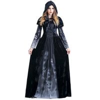 Vintage Gothic Kleid bodenlangen Frauen Gothic Maxikleid Halloween Kostüm-Kleid-Weinlese-langer Medieval # LR4