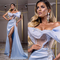 New Sexy Evening Dresses Off The Shoulder Satin Beaded Merma...