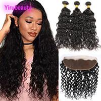 Malaysian Virgin Haar Bündel mit 13 X 4 Lace Frontal 4 Stücke / Los Wasser Welle lockiges Haar Bündel mit Frontal