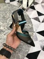 Gerçek Resimler Kadın arkası açık iskarpin Çok renkli Colibri Kedicik Gerçek Deri Sivri Burun Roman Ayakkabı Mesh pompaları Teknik-örgü