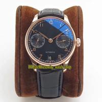 ZF Top Versão PortugeSer 500125 7 Dias Potência Reserva Preto Dial Cal.51011 Mens Automático Assista Sapphire 18K Rose Gold Case Watches de couro