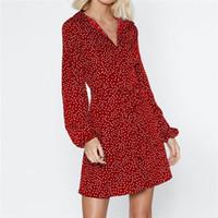 Kadınlar Derin V Yaka Puf Kollu Mini Elbise A-Line Bahar Yaz Rahat Polka Dot Ruffles Şifon Elbiseler