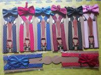 6Colors Polka Dot Bow Tie Bretelles pour Hommes Femmes 4 Clip en Cuir Suspensorio Adulte Bowtie Bretelles pour Pantalon Marine Rouge