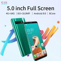 5,8 pouces s10 4G + 64G + 8,0 16.0MP Cheap Mobile Smart Phone Plein écran Visage Unlock Android 8.0 8 Dual Core Sim SmartPhones DHL Express