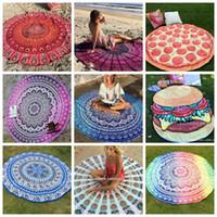Playa Toalla India Mandala Toallas Redondas Playa Poliéster Impreso Tapicería Yoga Mat Ver verano Picnic Rug Serviette De Plage 39 Diseños Lqpyw452