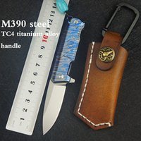 M390 steel knife outdoor survival folding knife TC4 titanium...
