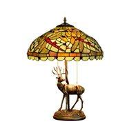 مصابيح الجدول الرجعية الأميركي الملون تيفاني مصباح زجاج غرفة المعيشة الشمال بار الطعام الأخضر اليعسوب الديكور مصباح الجدول