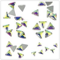 Çeşitli Boyutları Üçgen AB Renk Cam Rhinestones Kristal Boncuk DIY Giyim Craft Için Strass Kristal Taşlar Dikmek
